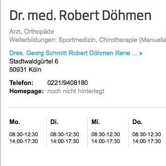 jameda-Bewertung Dr. med. Robert Döhmen